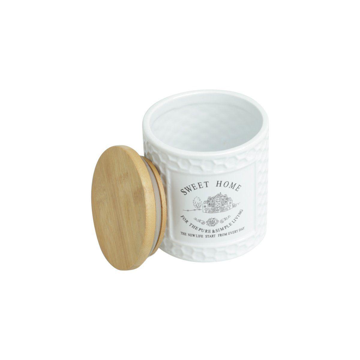 Pote 500ml de porcelana branca com tampa de madeira Sweet Home Bon Gourmet - 27446