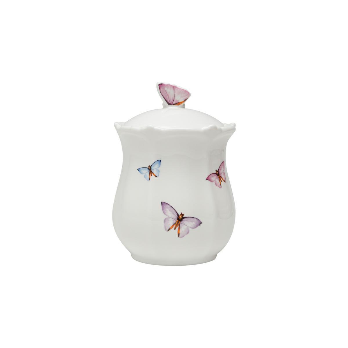 Pote 660ml de porcelana branca com tampa Borboletas Wolff - 1153