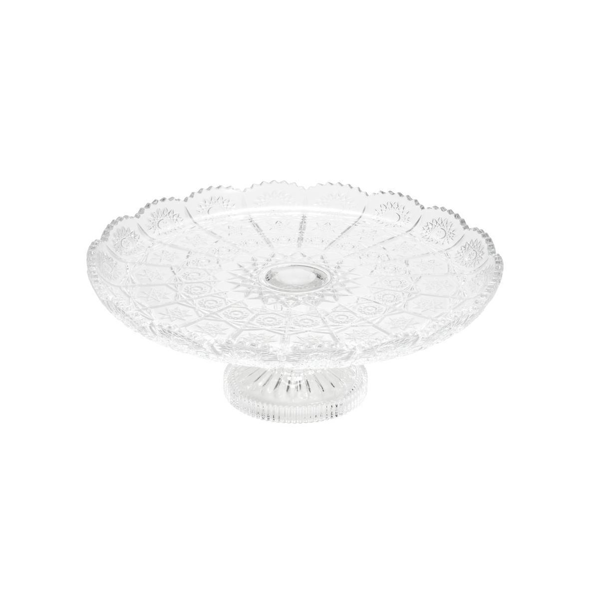 Prato 18 cm para bolo de cristal transparente com pé Starry Wolff - 25542