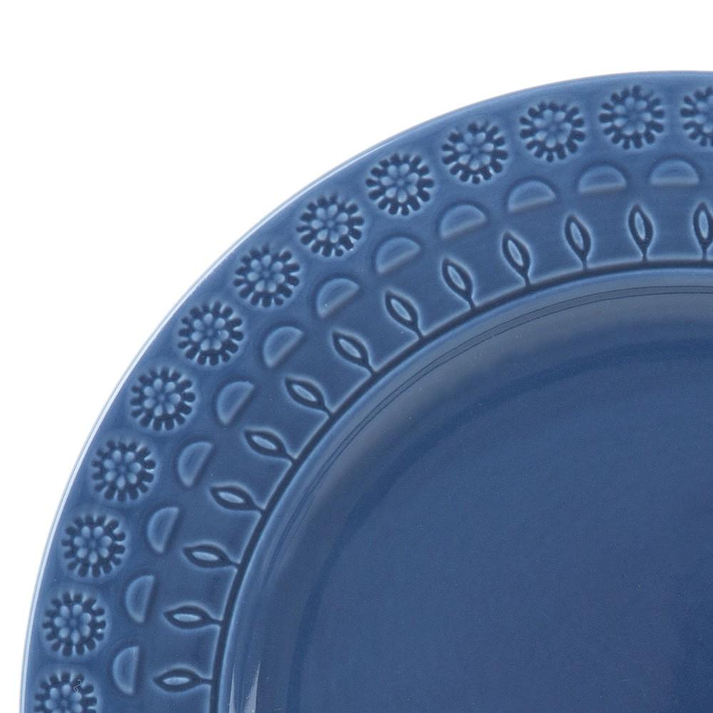 Prato 19 cm para sobremesa de porcelana azul Grace Wolff - 17562