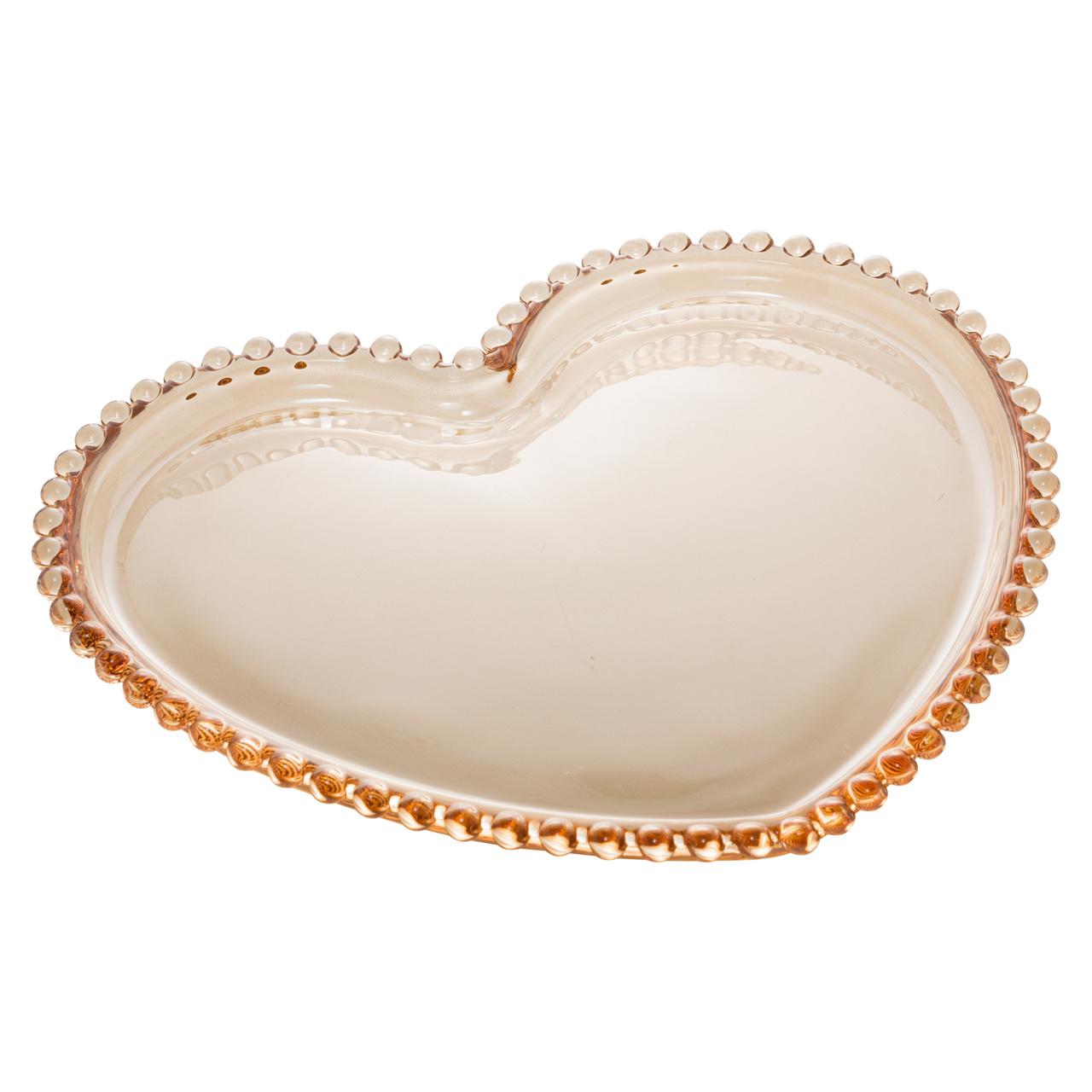 Prato 20 cm de cristal âmbar Coração Pearl Wolff - 28394