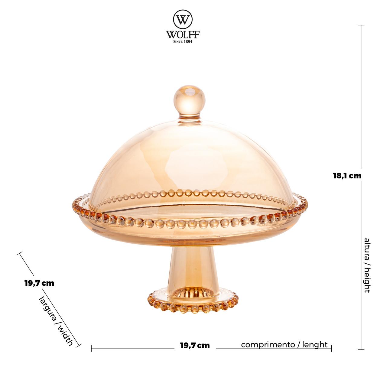 Prato 20 cm para bolo de cristal âmbar com pé e tampa  Pearl Wolff - 28273