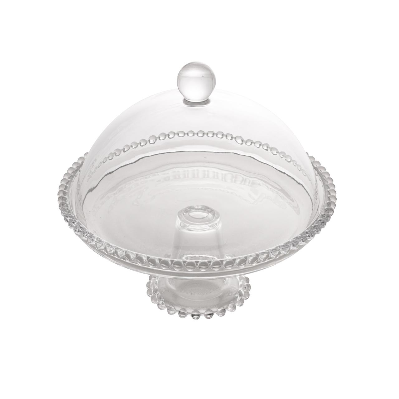 Prato 20 cm para bolo de cristal transparente com pé e tampa  Pearl Wolff - 28272