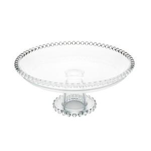 Prato 20 cm para bolo de cristal transparente com pé Pearl Wolff - 28270
