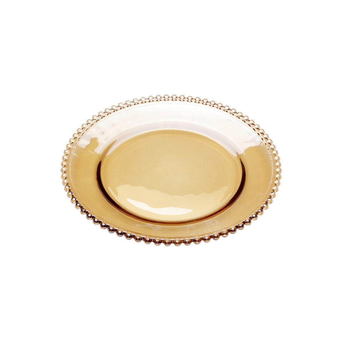Prato 20 cm para sobremesa de cristal âmbar Pearl Wolff - 27664