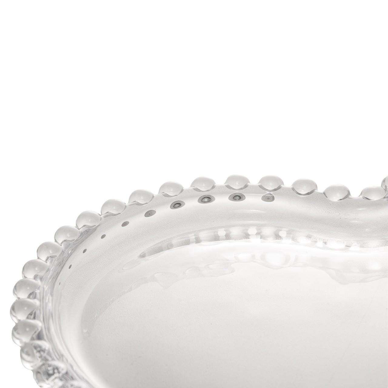 Prato 30 cm de cristal transparente Coração Pearl Wolff - 28374