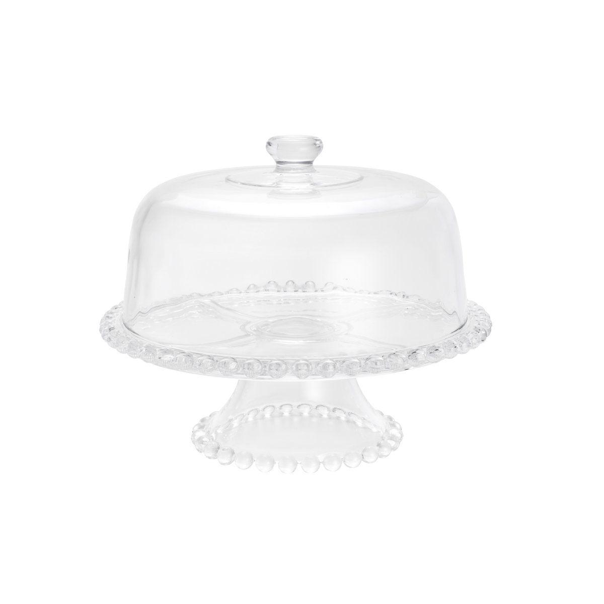 Prato 31 cm para bolo de cristal transparente com pé e tampa Pearl Wolff - 30135