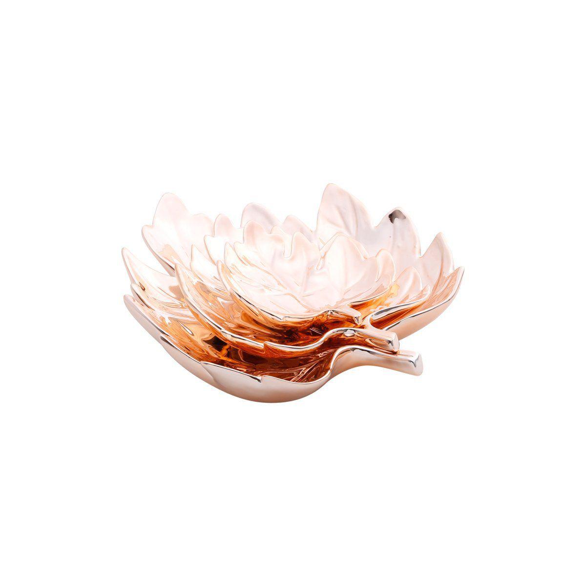 Prato decorativo 28 cm de cerâmica rosé gold Folha Prestige - 25673