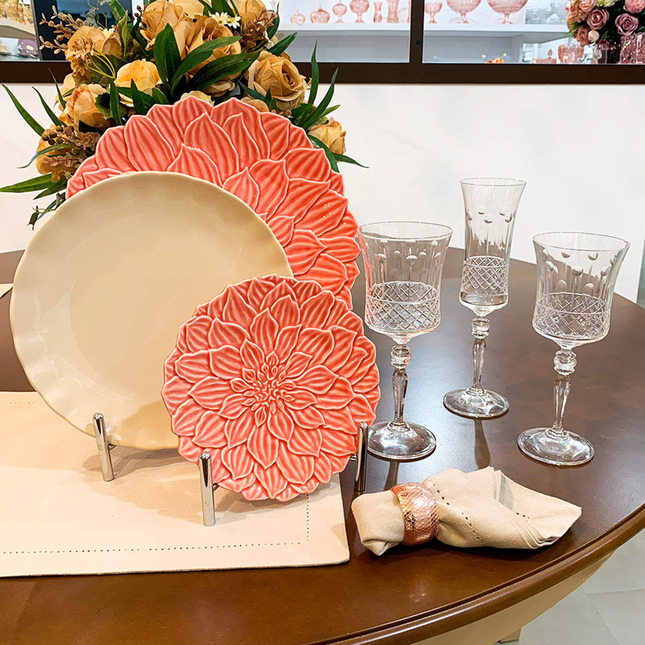 Prato de sobremesa 19 cm de porcelana coral Daisy Wolff - 27745