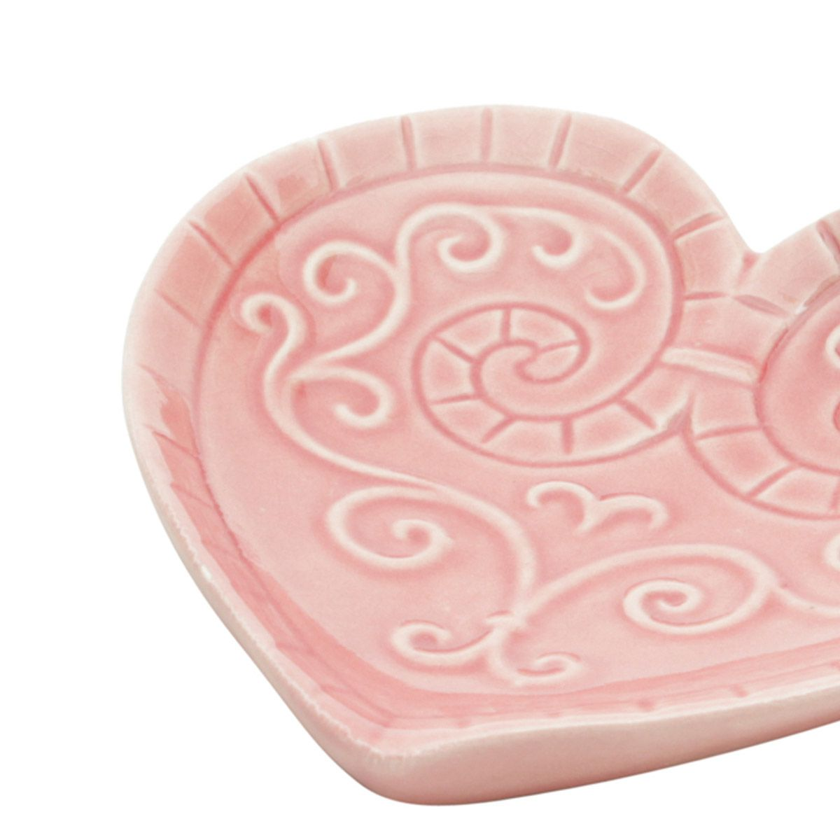 Prato decorativo 14 cm de cerâmica rosa com pássaros Coração Lyor - L4169