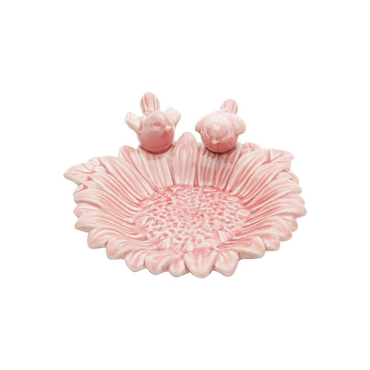 Prato decorativo 15 cm de cerâmica rosa com pássaros Girassol Lyor - L4160