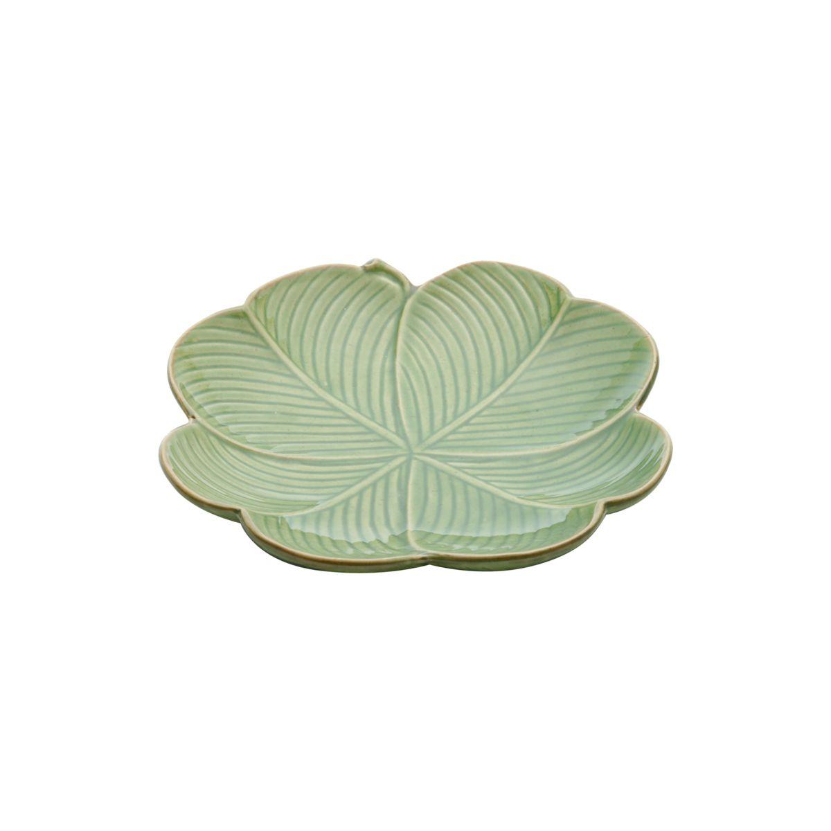 Prato decorativo 16 cm de cerâmica verde Banana Leaf Lyor - L4137