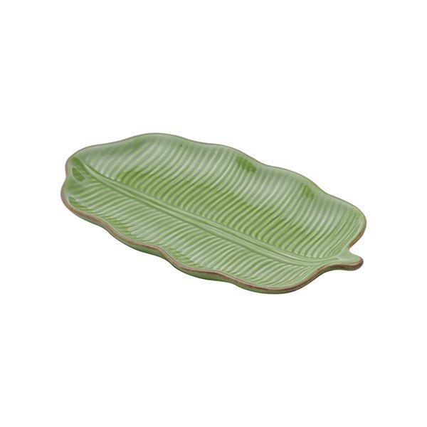 Prato decorativo 20 x 11,5 cm de cerâmica verde Banana Leaf Lyor - L3869