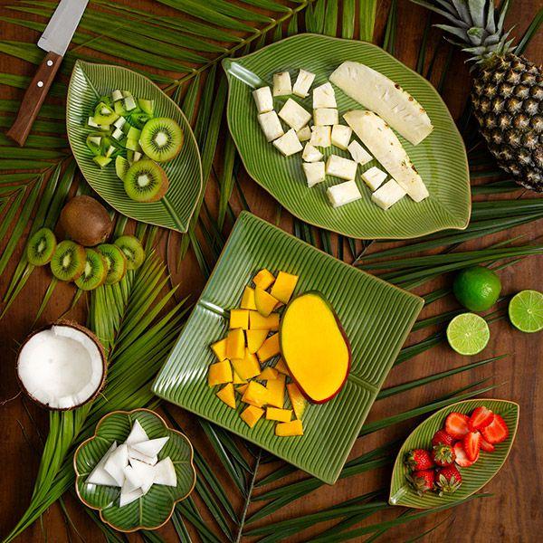 Prato decorativo 21 x 11 cm de cerâmica verde Banana Leaf Lyor - L4135