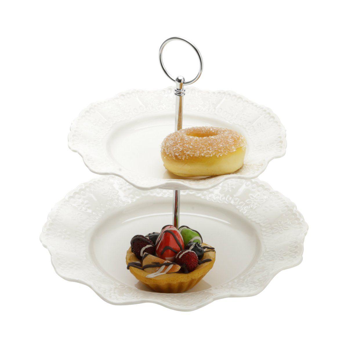 Prato duplo 23,5 cm para doces de porcelana branca com suporte de metal Princess Lyor - L8238