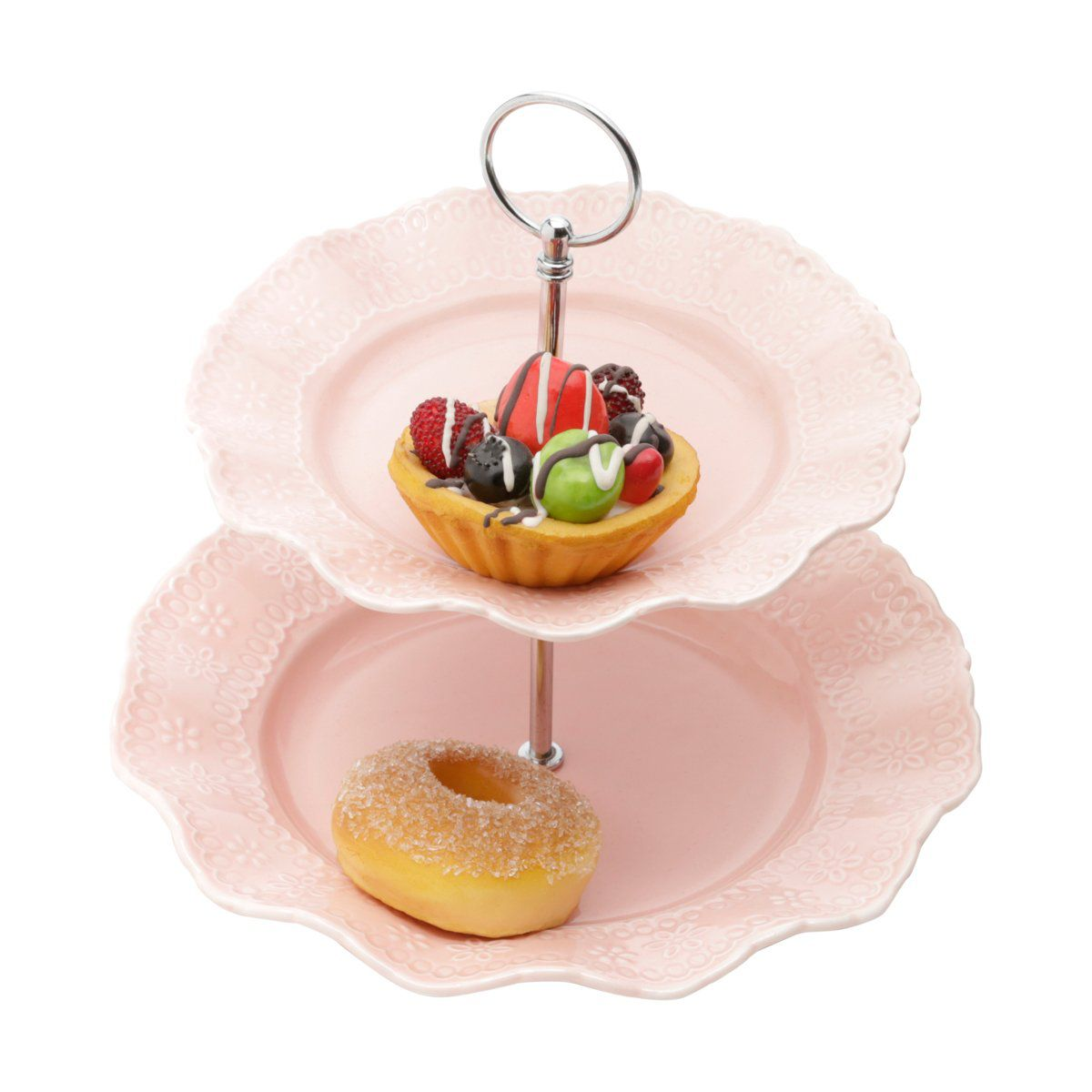 Prato duplo 23,5 cm para doces de porcelana rosa com suporte de metal Princess Lyor - L8239