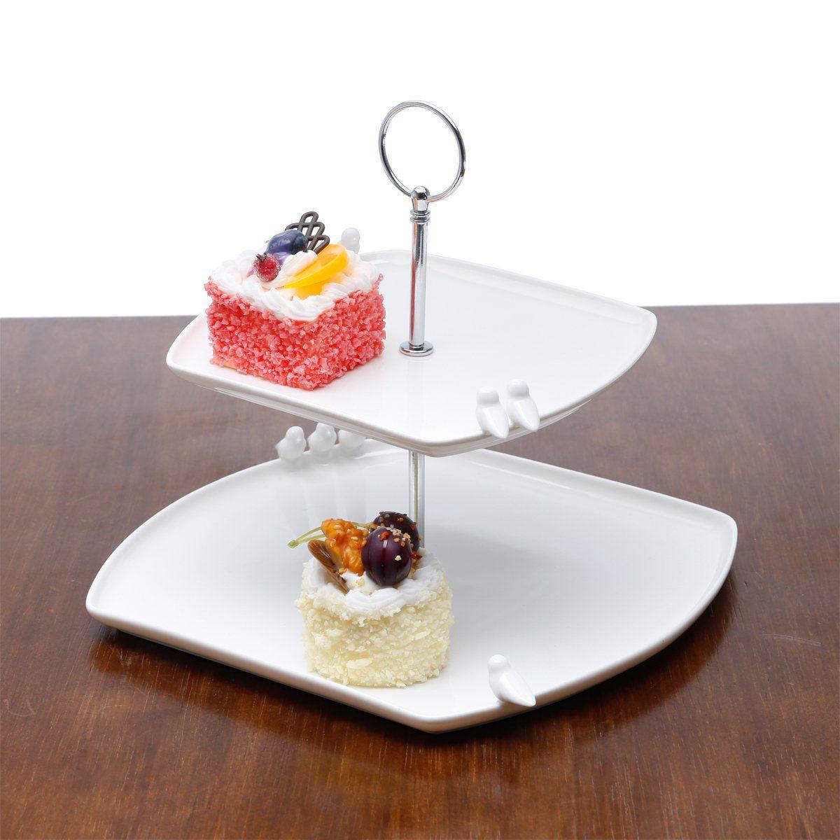 Prato duplo 25,5 cm para doces de porcelana branca com suporte de metal Birds Wolff - 17245
