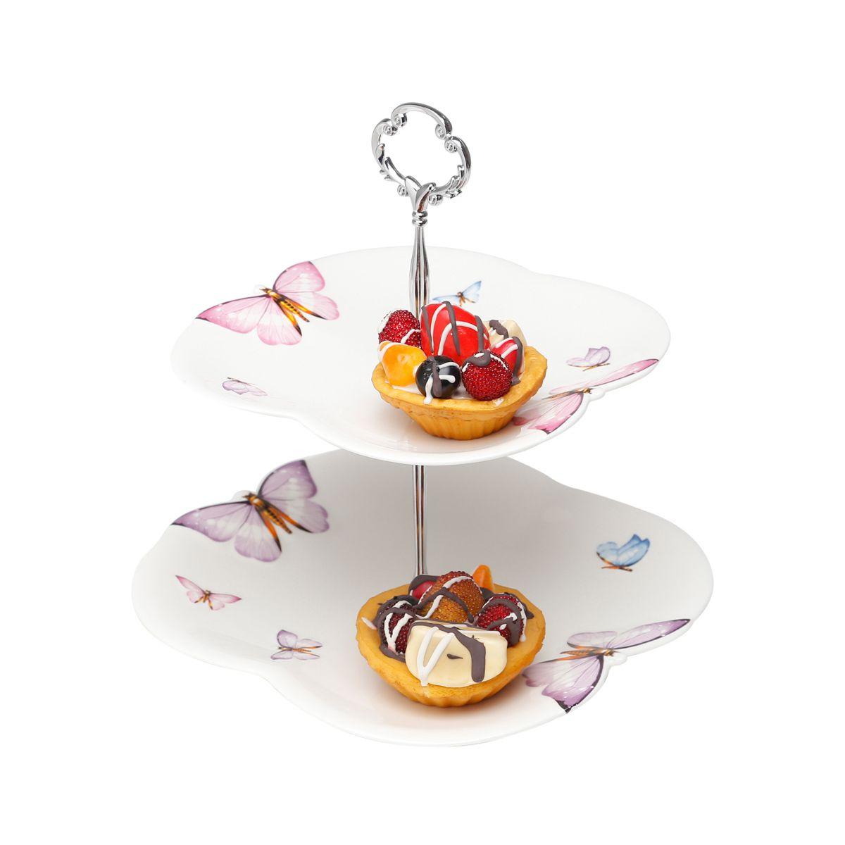 Prato duplo 25,5 cm para doces de porcelana com suporte de metal Borboletas Wolff - 25031