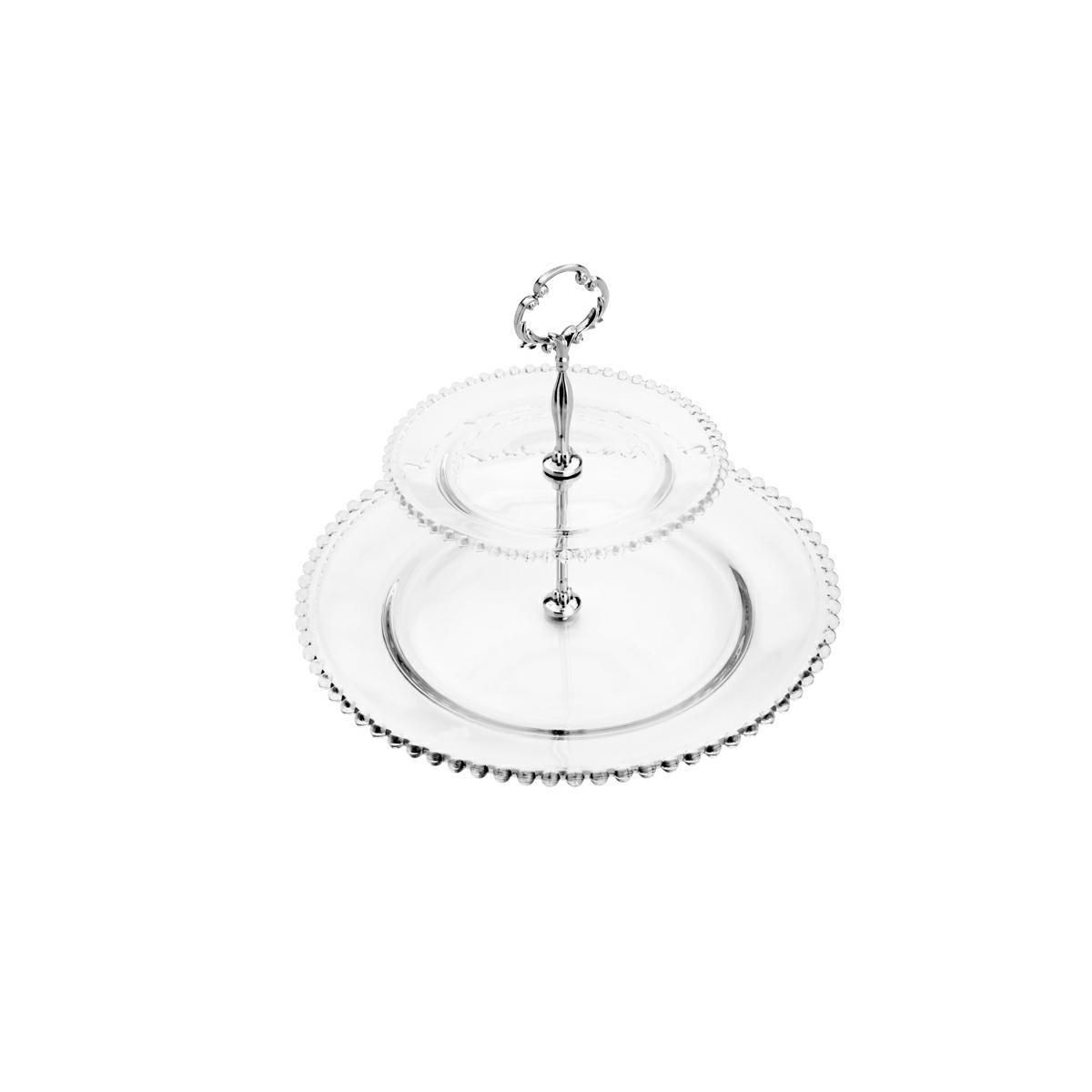 Prato duplo 32 cm para doces de cristal transparente com suporte de metal Pearl Wolff -  35212
