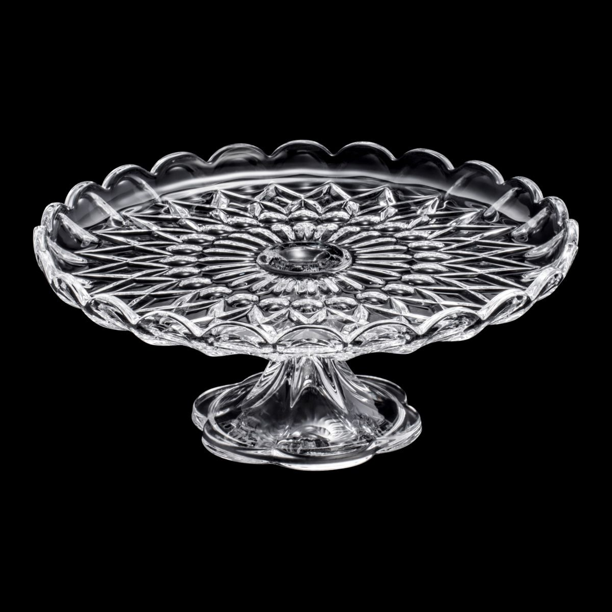 Prato 30 cm para bolo de cristal com pé transparente Angélica Wolff - 25554