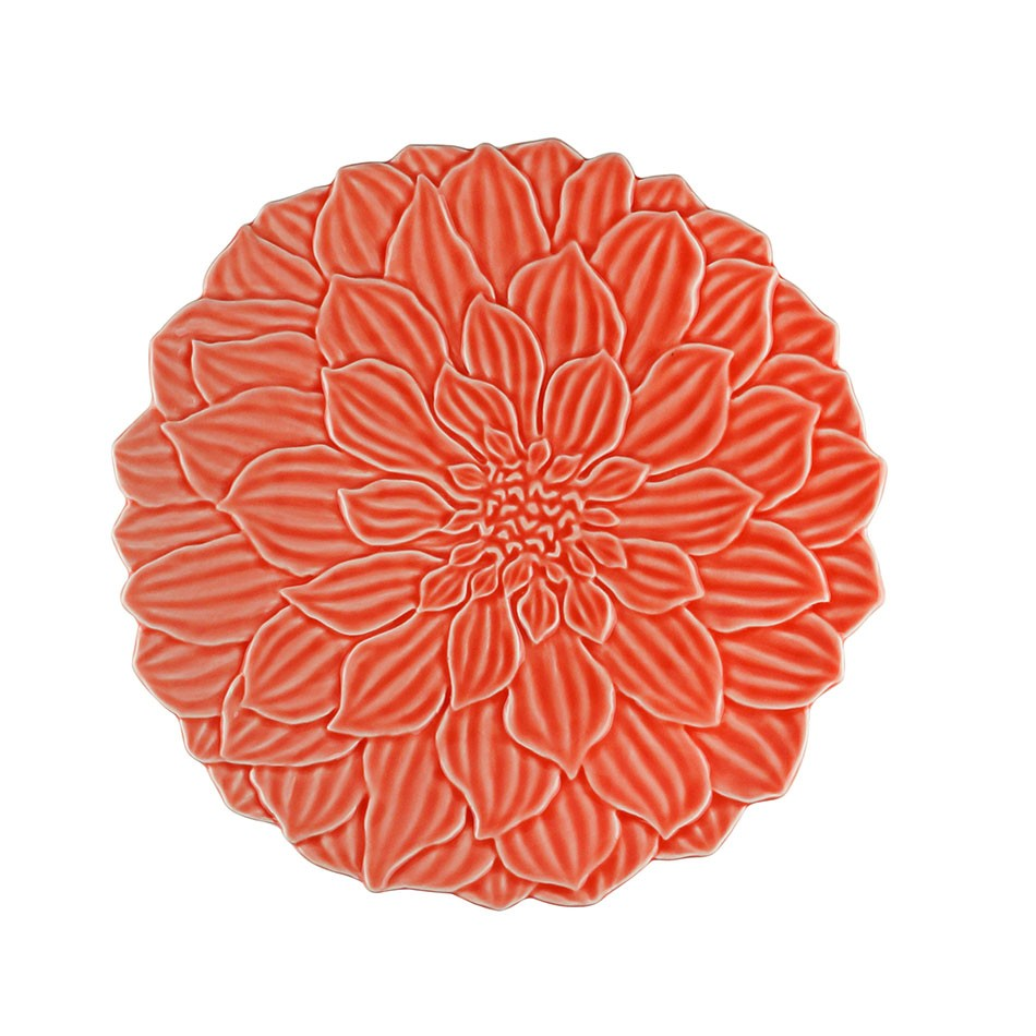 Prato raso 27 cm de porcelana coral Daisy Wolff - 27744