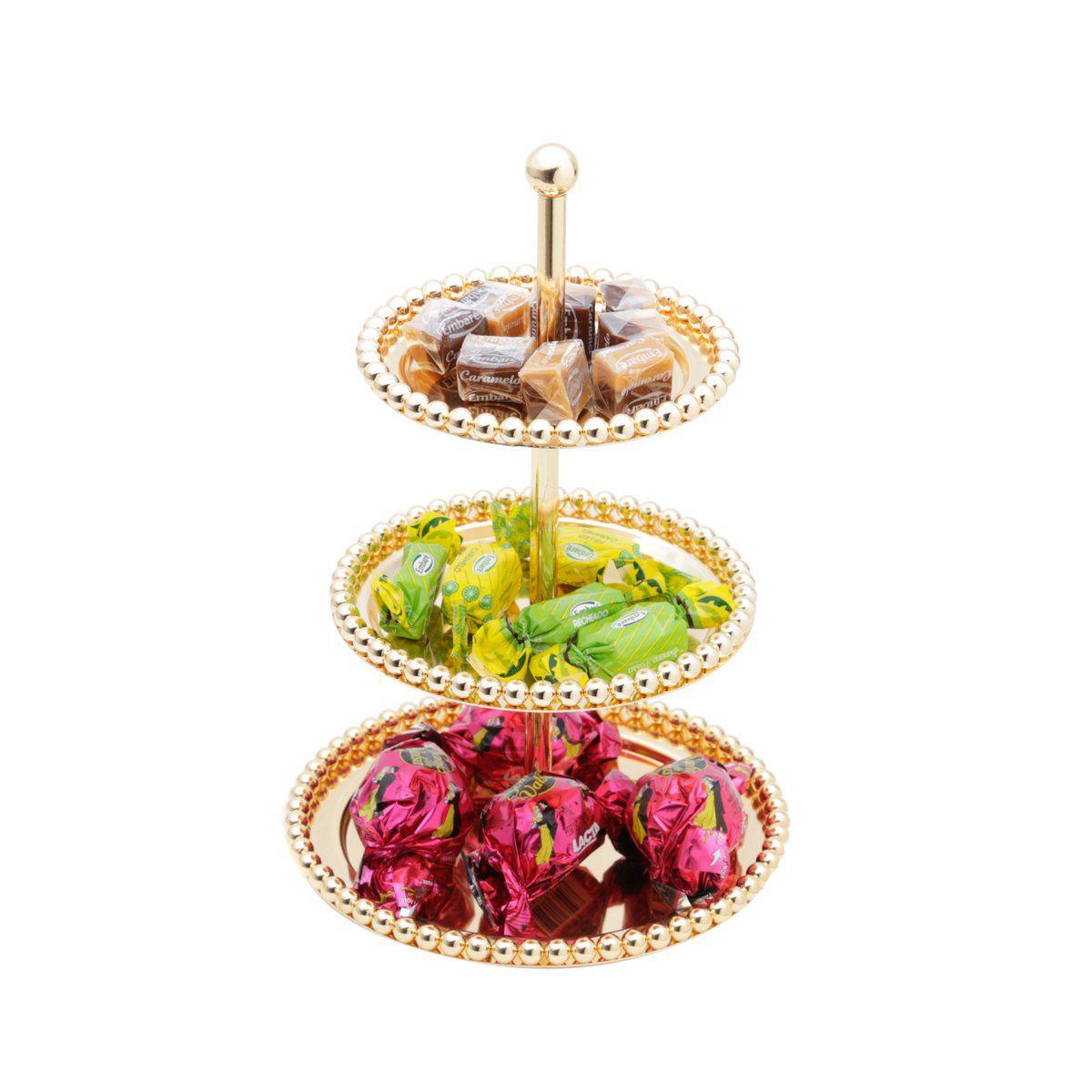 Prato triplo 24,5 cm para doces de zamac dourado com suporte de metal Balls Lyor - L3818