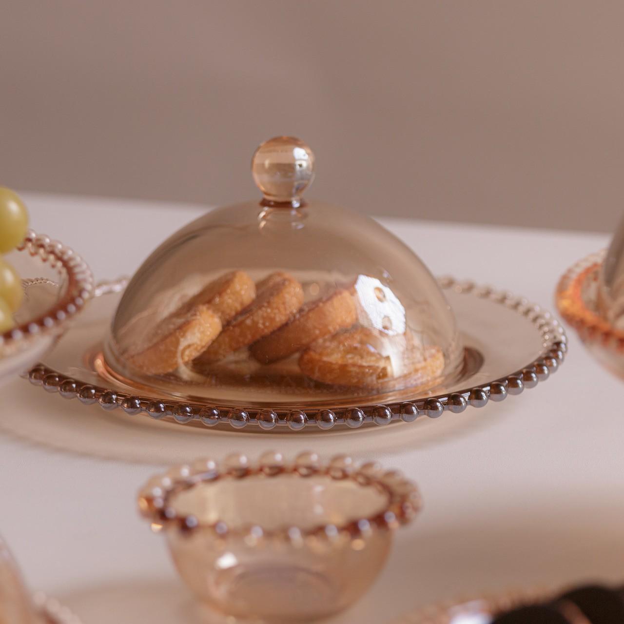 Queijeira 20 cm de cristal âmbar com tampa Pearl Wolff - 28267