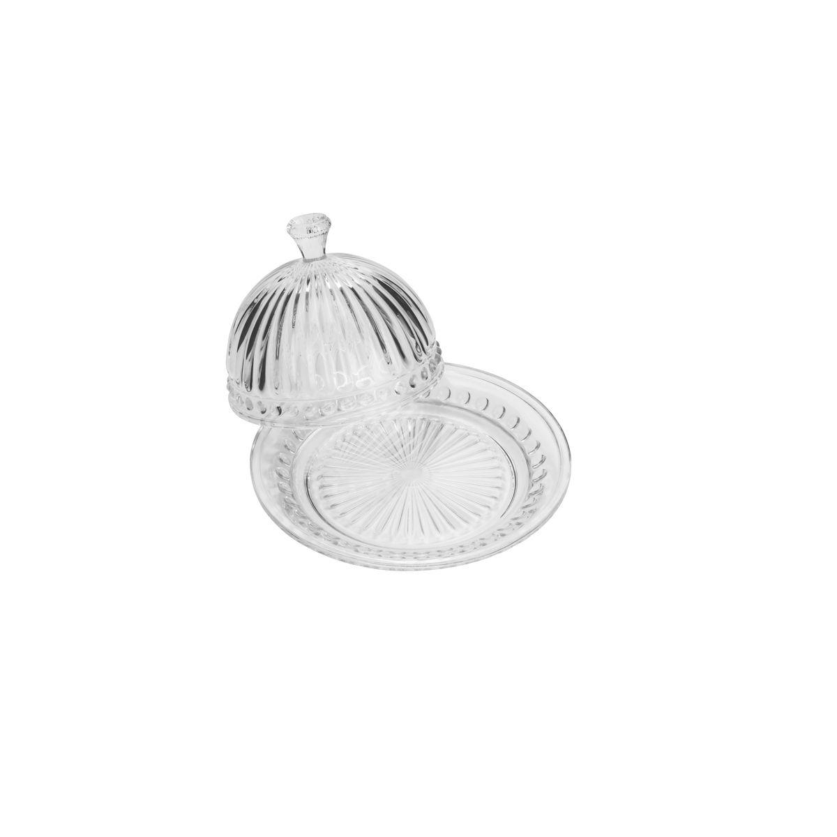 Queijeira 20 cm de cristal transparente com tampa Empire Lyor- L7404