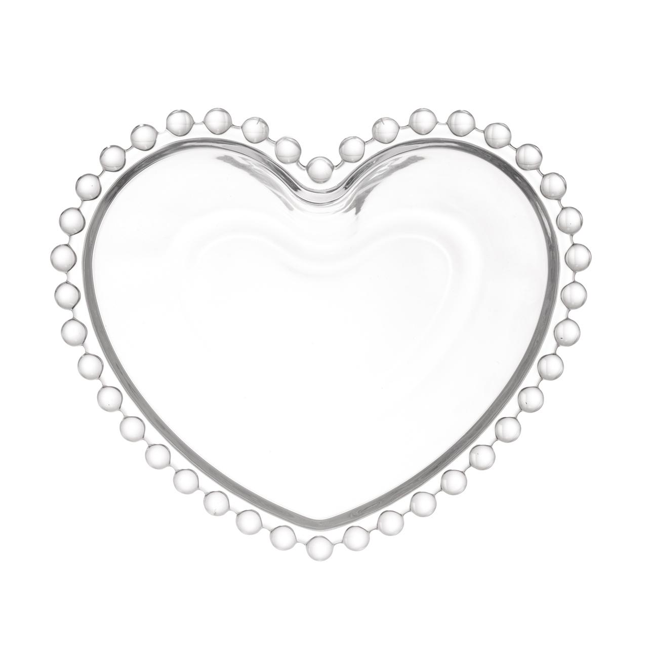 Saladeira 21 cm de cristal coração Pearl Wolff - 28378