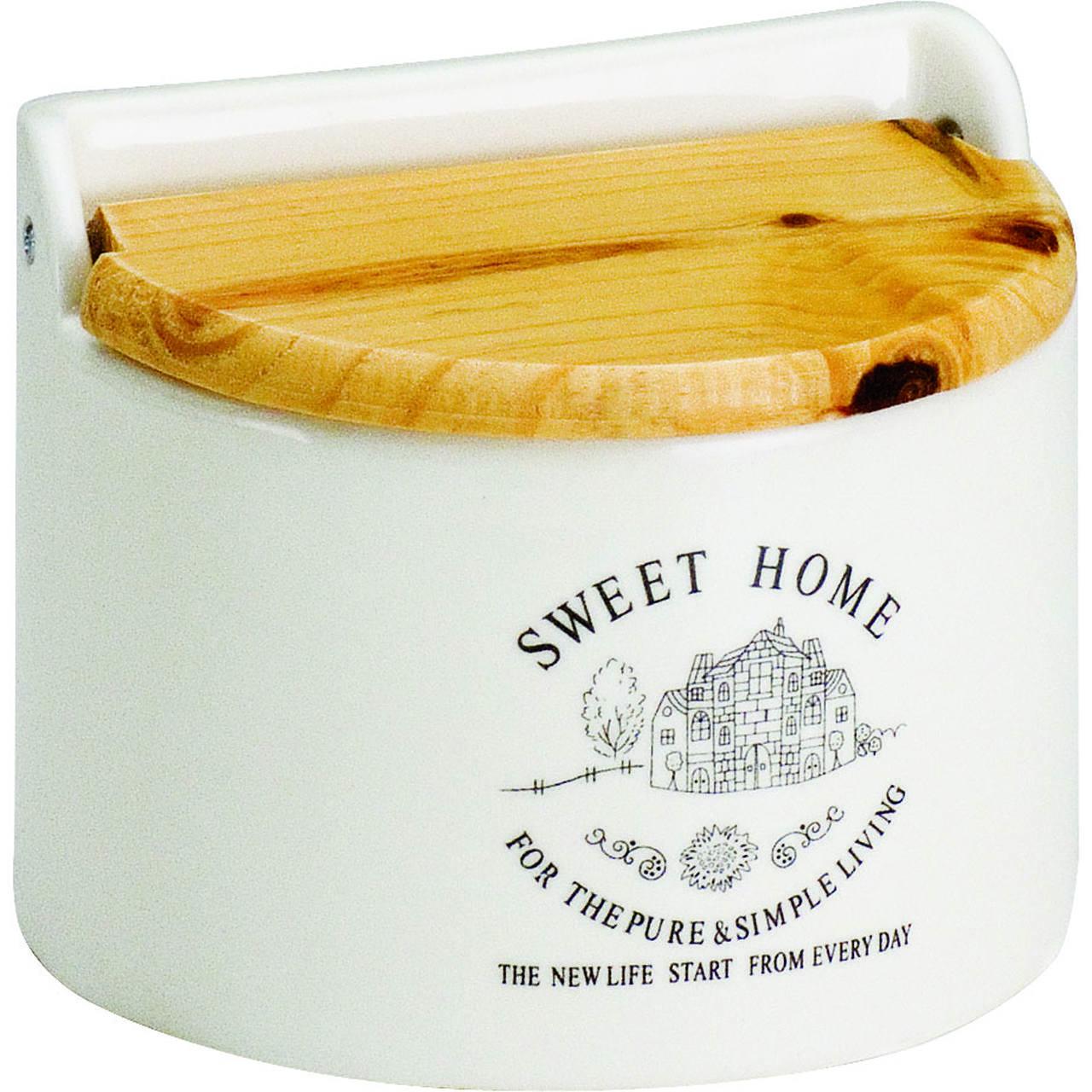 Saleiro 620ml de cerâmica p/parede branca Sweet Home Bon Gourmet - 2853