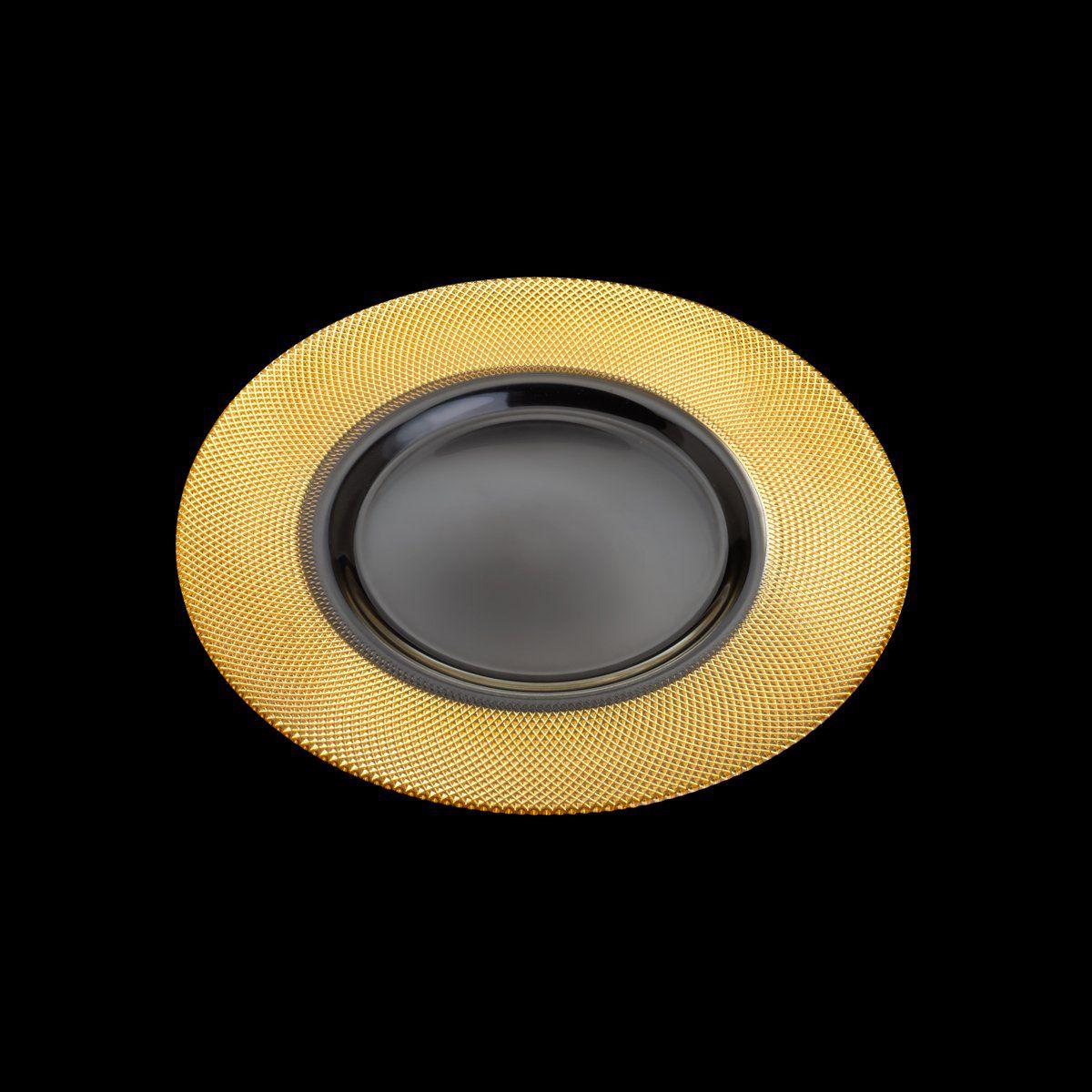 Sousplat 32,5 cm de cristal transparente e dourado Rojemac - 26785
