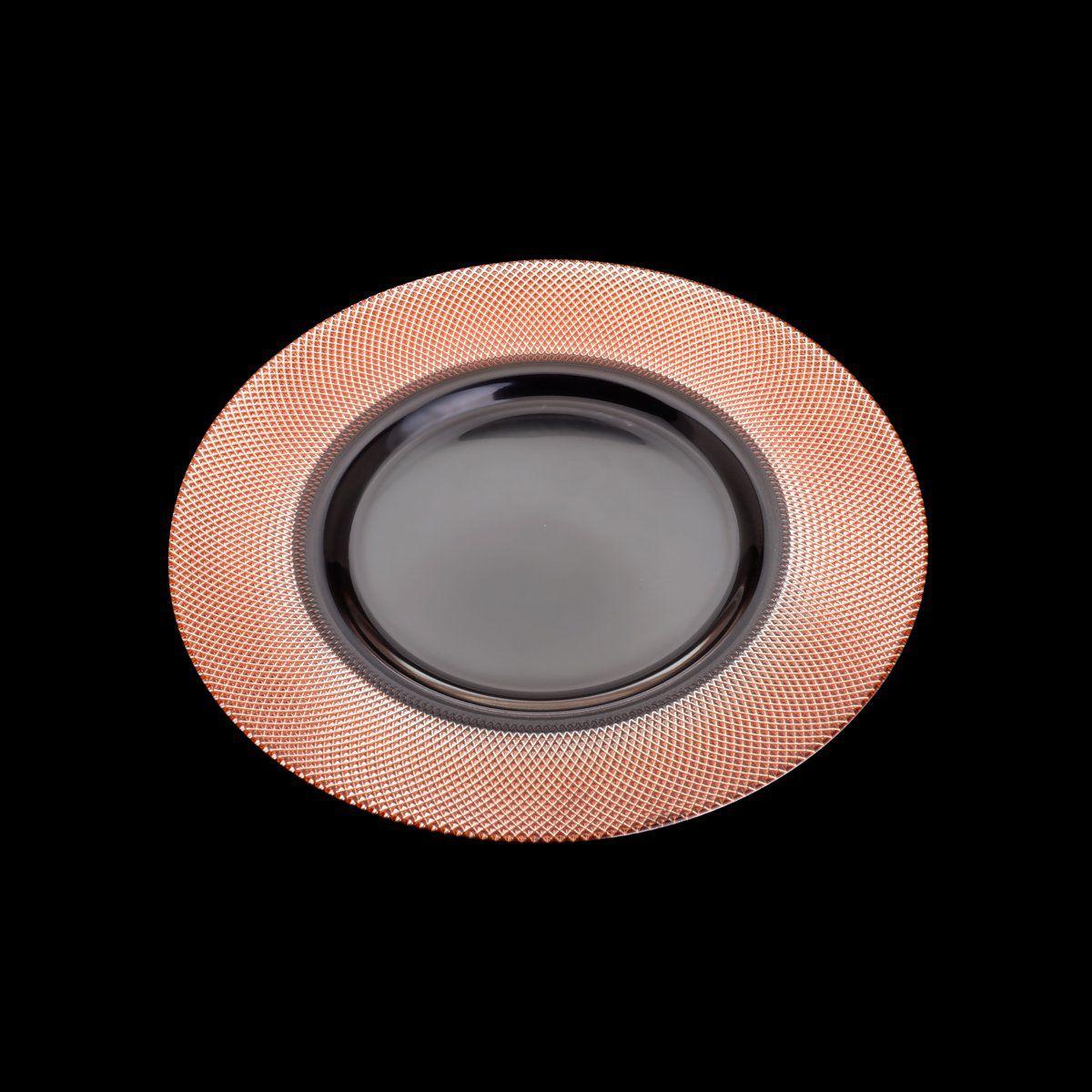 Sousplat 32,5 cm de cristal transparente e rosé gold Rojemac - 26787