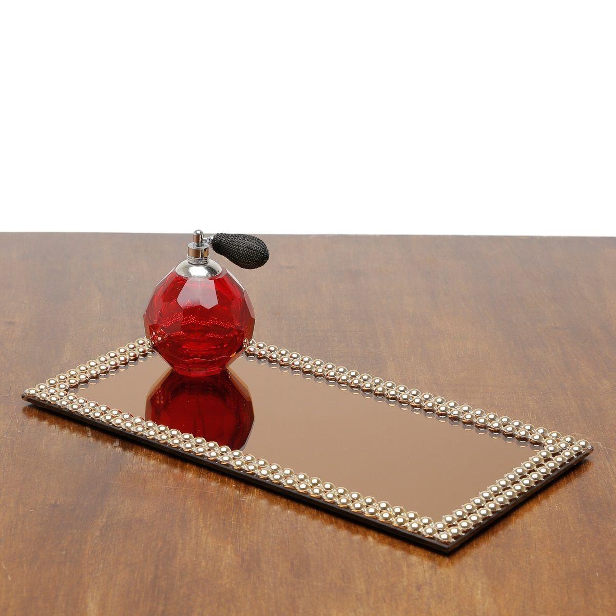 Base, Suporte 32 cm com espelho e acrílico dourado Hills Prestige - 2998