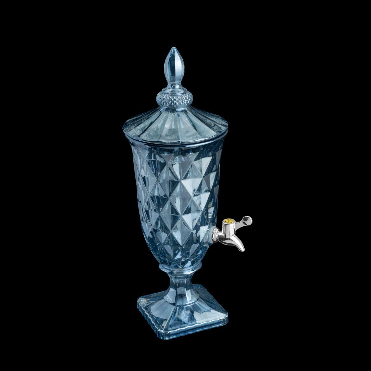 Suqueira Dispenser 2 litros para bebida de cristal azul com pé e tampa Diamond Lyor - L7206