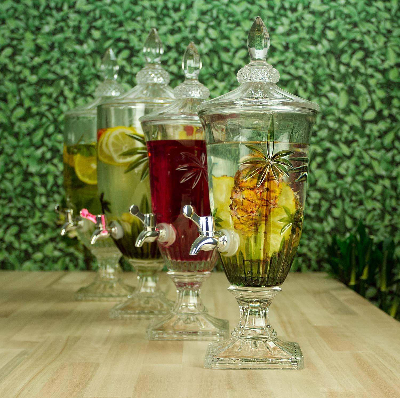 Suqueira Dispenser 4 litros para bebida de cristal com pé e tampa Palm Tree Wolff - 27578