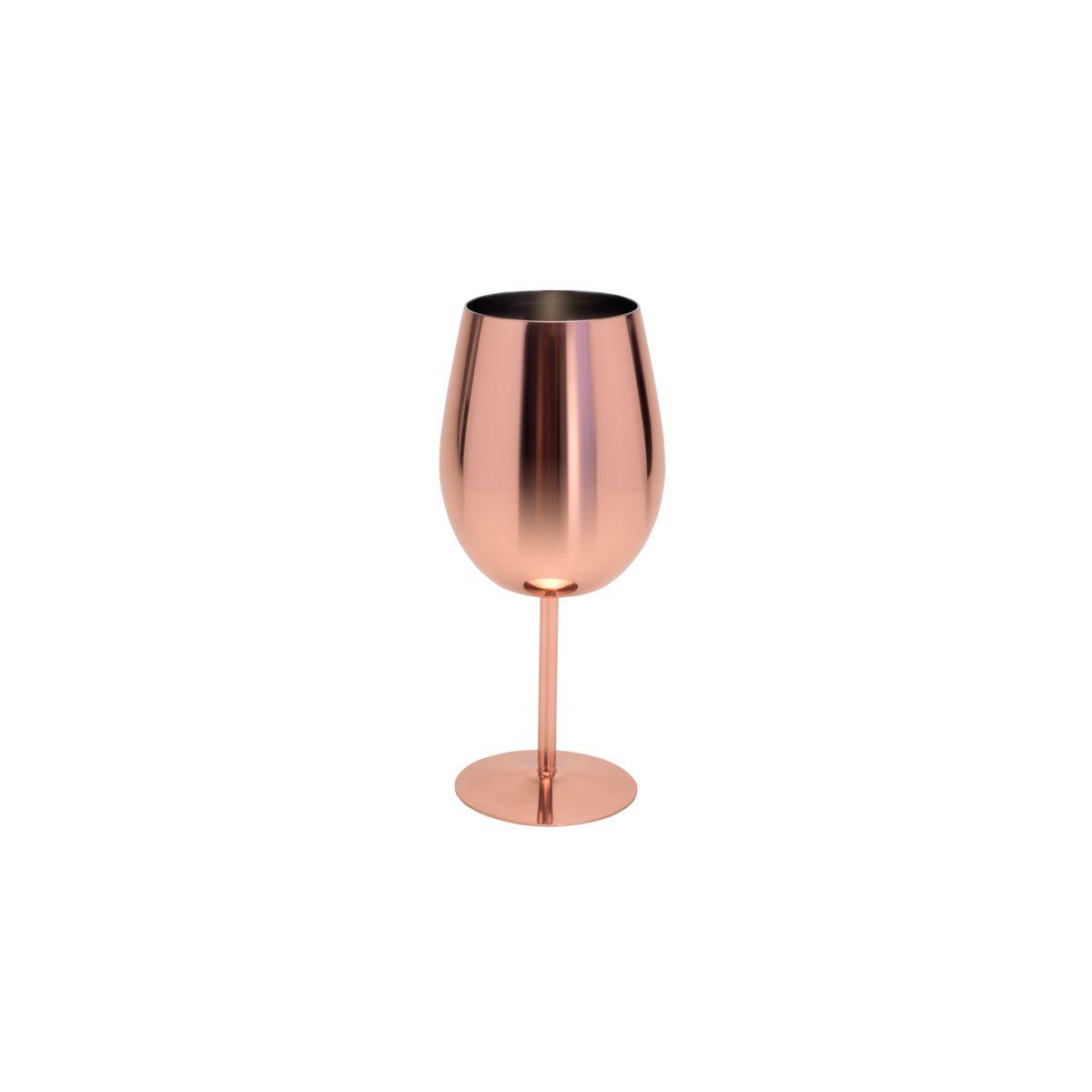 Taça 400ml para vinho de aço Inox cobre rosé gold Delhi Royal - 27326