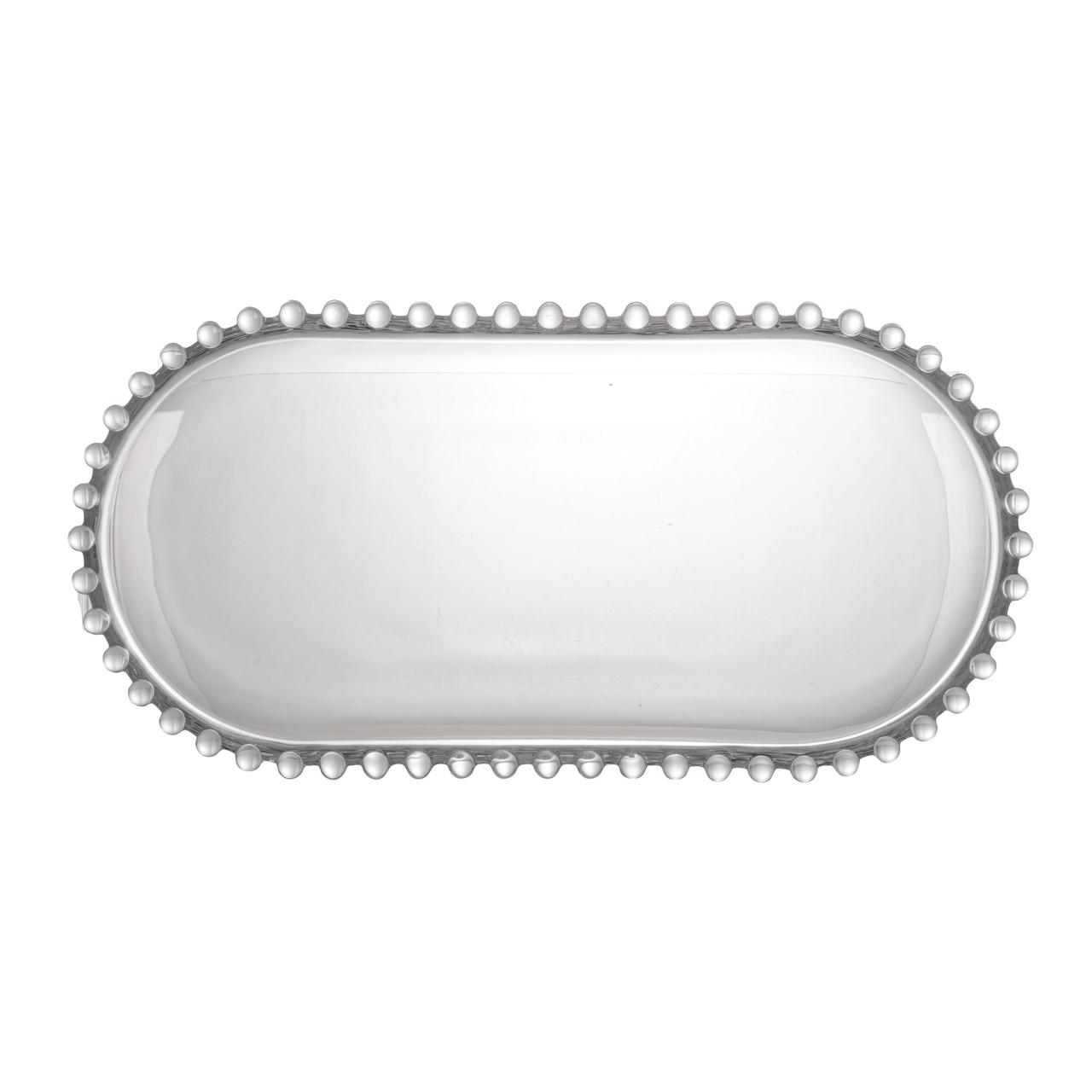 Travessa 30 cm de cristal transparente Oval Pearl Wolff - 28384