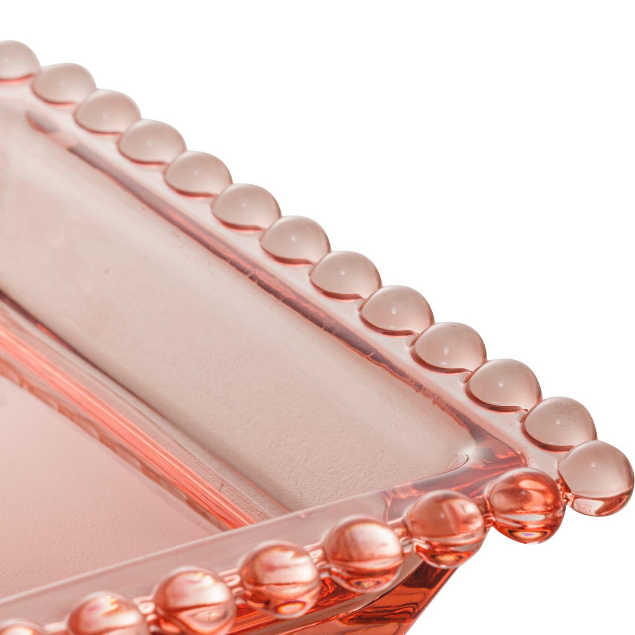 Travessa 30 x 13 cm de cristal rosa Pearl Wolff - 28438