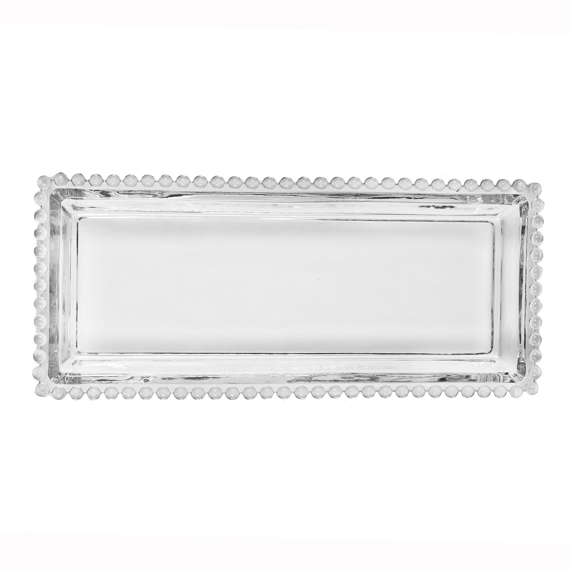 Travessa 30 x 13 cm de cristal transparente Pearl Wolff - 27891