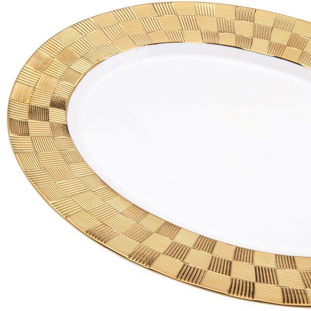 Travessa 35,5 x 25 cm de porcelana branca e dourada Vera Wolff - 17443