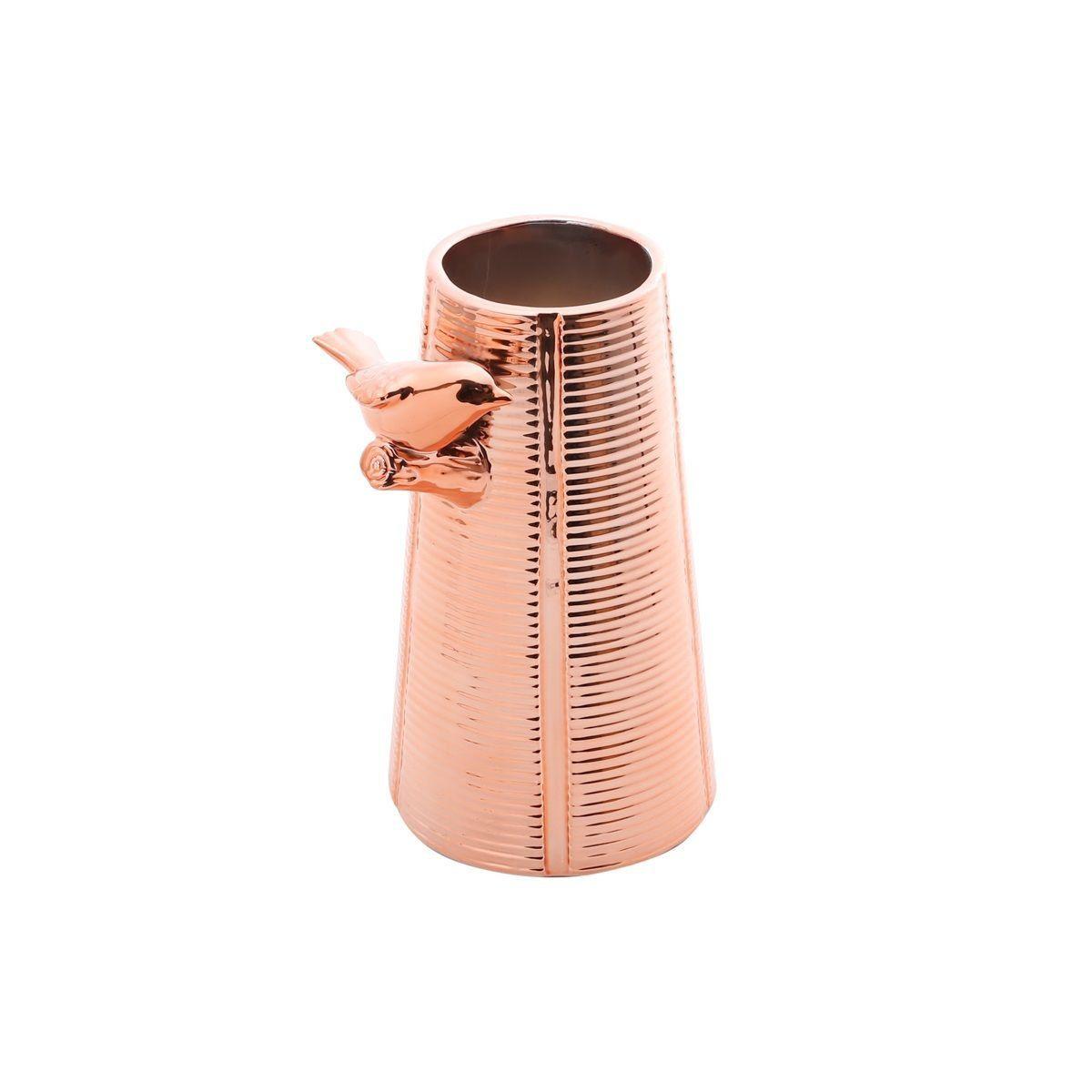 Vaso decorativo solitário 14,50 cm de cerâmica rosé gold Bird Prestige - 25671