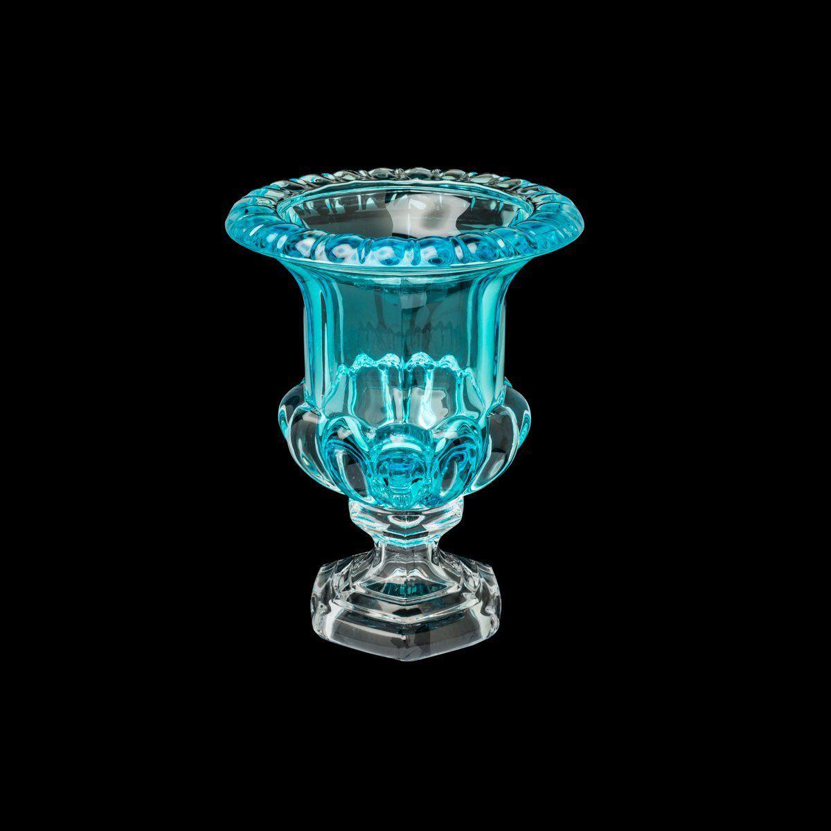 Vaso decorativo 25,5 cm de cristal turquesa com pé Sussex Wolff - 26459