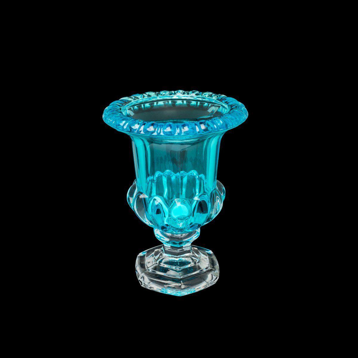 Vaso decorativo 15 cm de cristal turquesa com pé Sussex Wolff - 26461