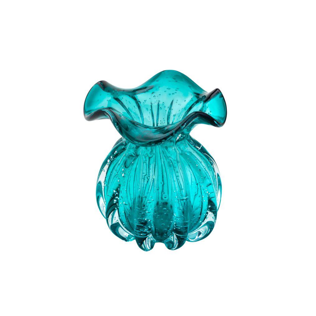 Vaso decorativo 13 cm de vidro azul tiffany Italy Lyor - L4254