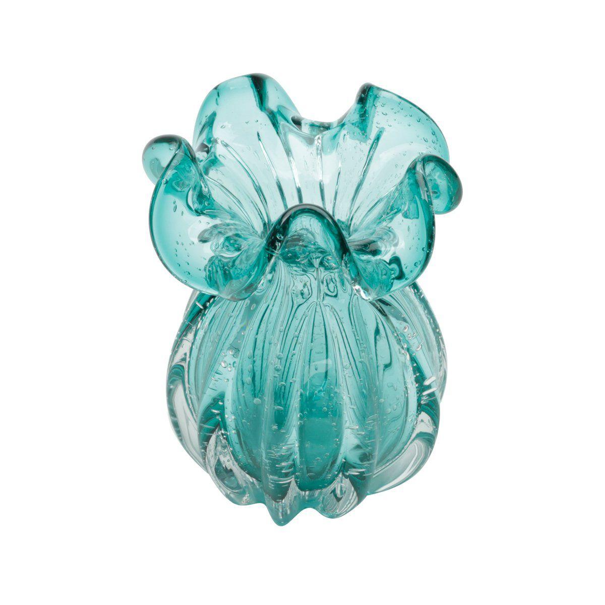 Vaso decorativo 17 cm de vidro azul tiffany Italy Lyor - L4142