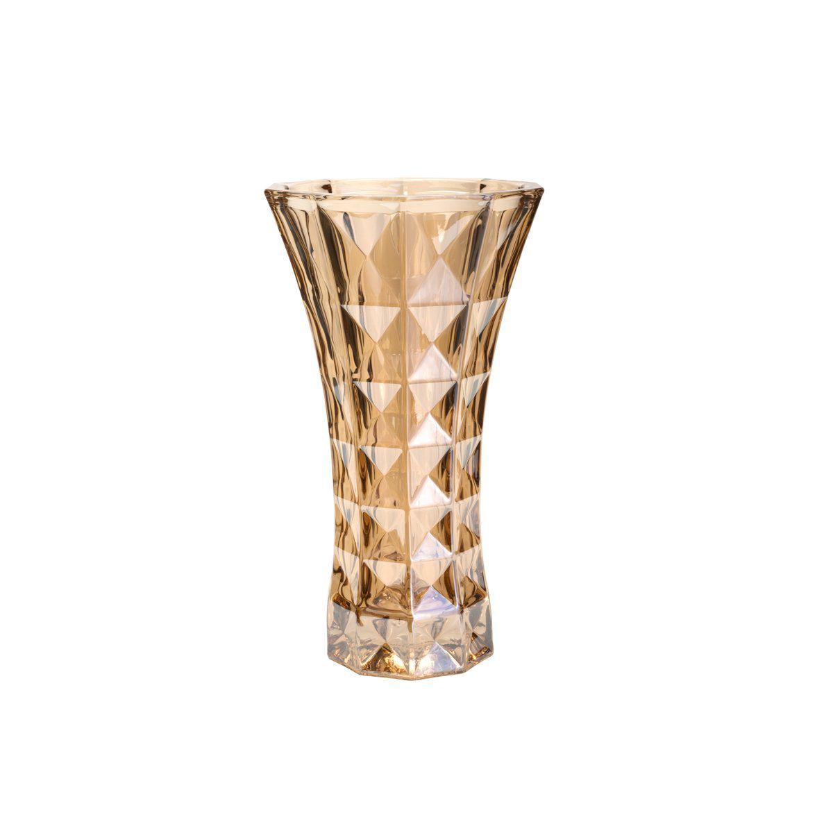 Vaso decorativo 25,5 cm de cristal âmbar Diamant Wolff - 26059