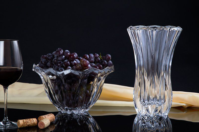 Vaso decorativo 26 cm de cristal transparente Louise Wolff - 2359