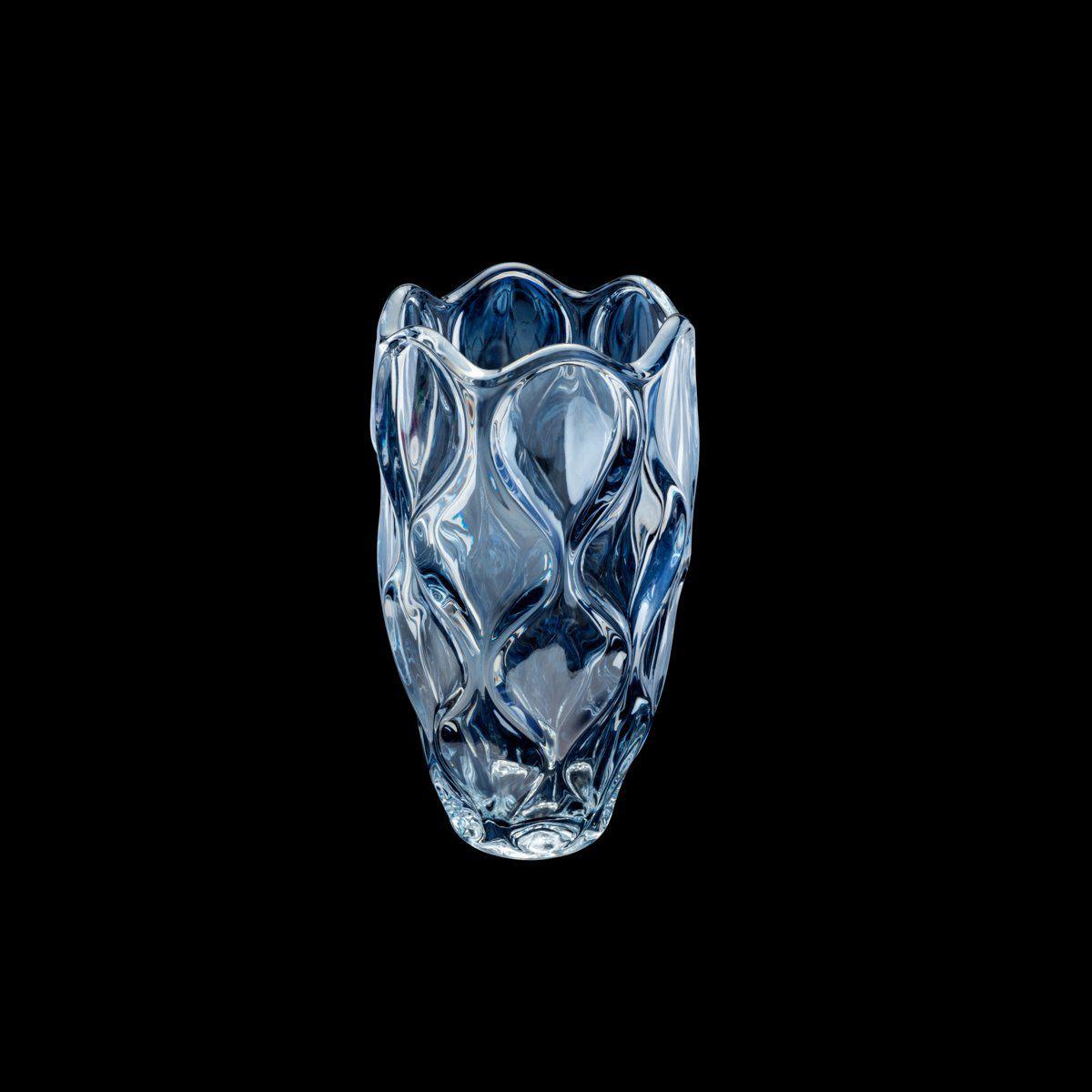 Vaso decorativo 30 cm de cristal azul Safir Wolff - 26048