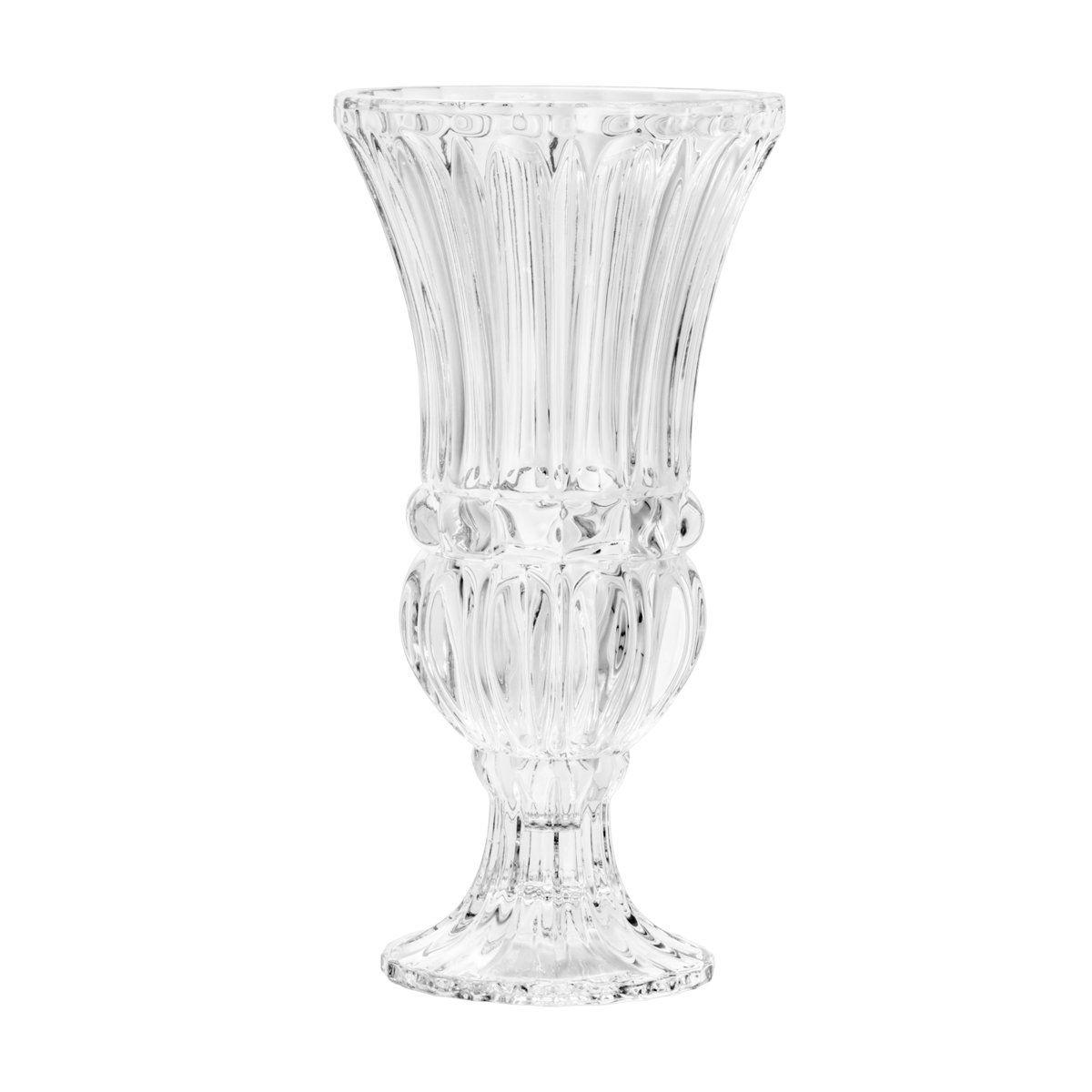 Vaso decorativo 30 cm de cristal transparente com pé Athena Wolff - 5351