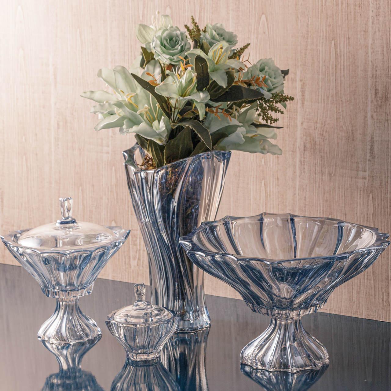 Vaso decorativo 31 cm de cristal Paradise azul metalizado  Wolff - 26714